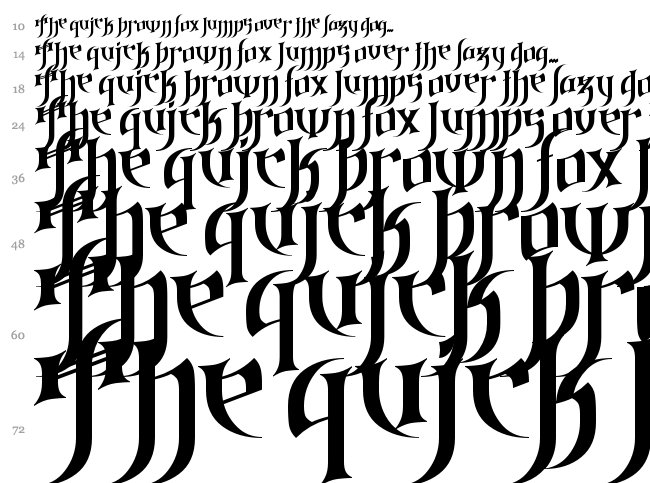 Gothic Love Letters font waterfall