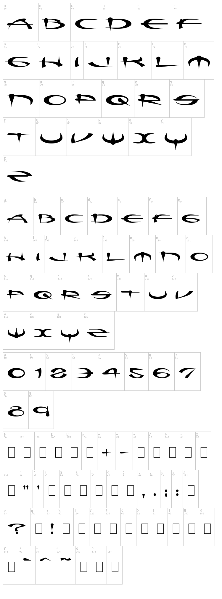 Myque font map