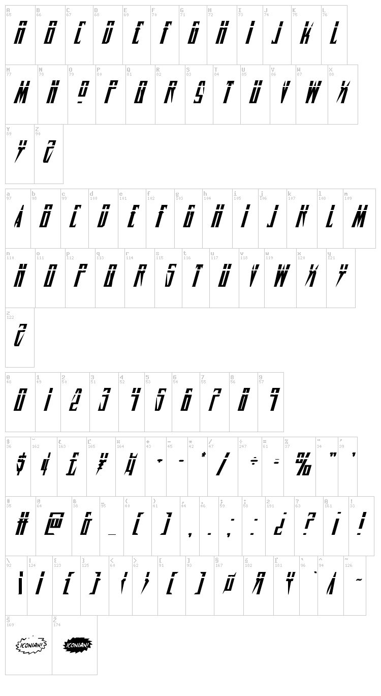 Timberwolf font map