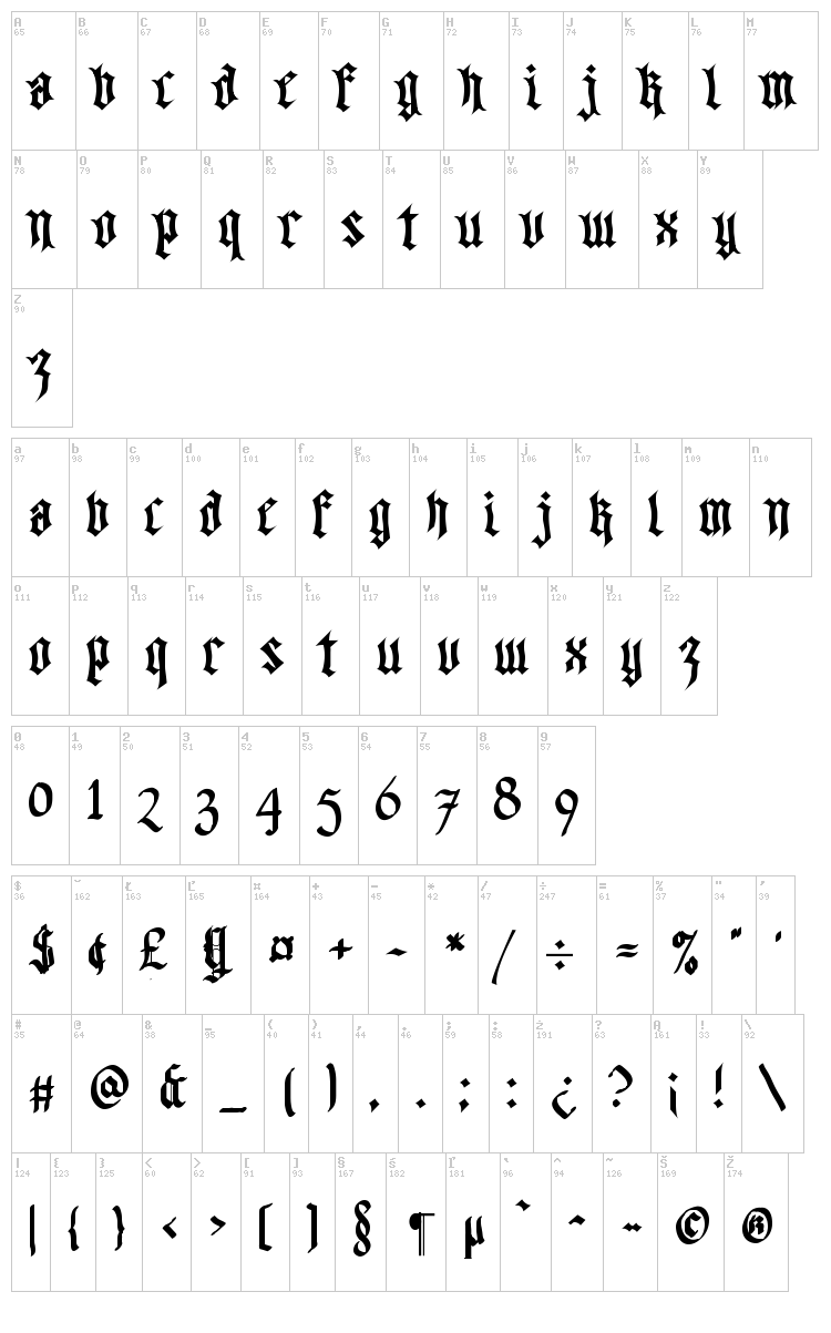 Walk Da Walk font map