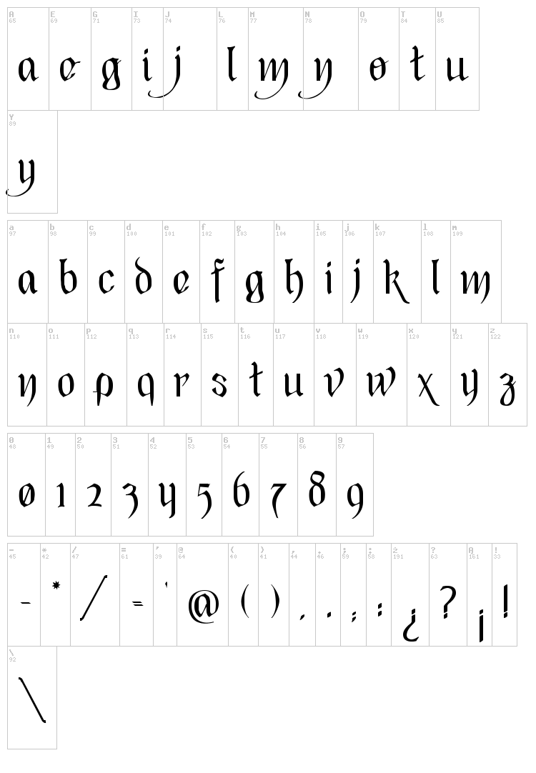 Black Heart Inertia font map