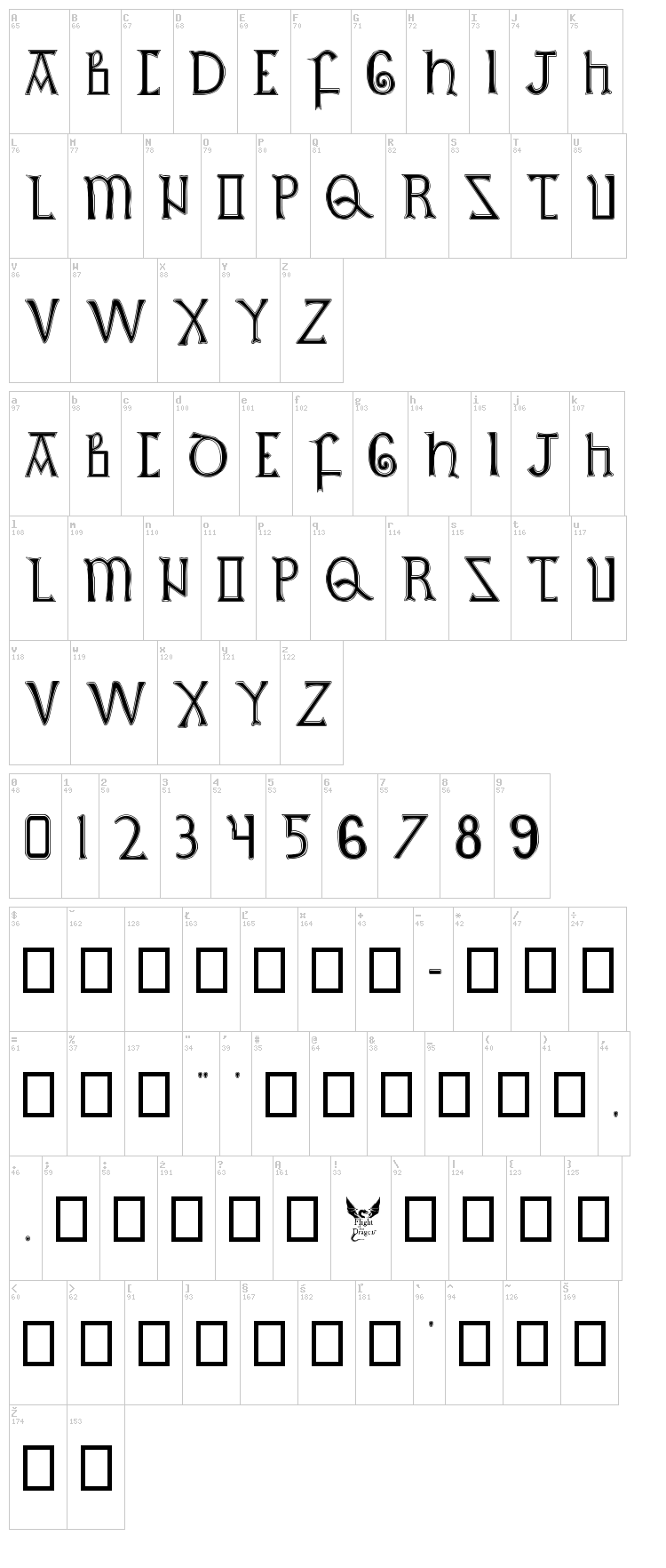 British Outline Majuscules font map