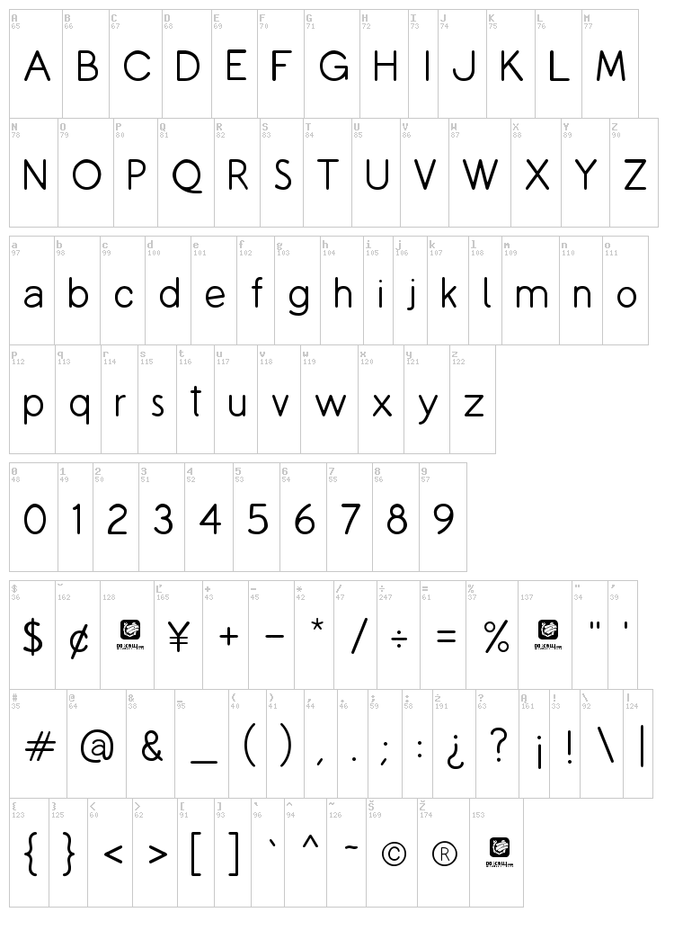 Copilme font map
