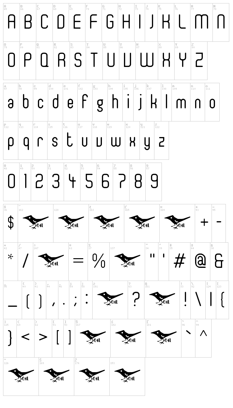 Ger4ronL Cond font map