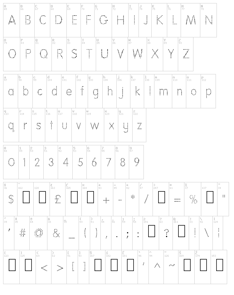 National First Font font map