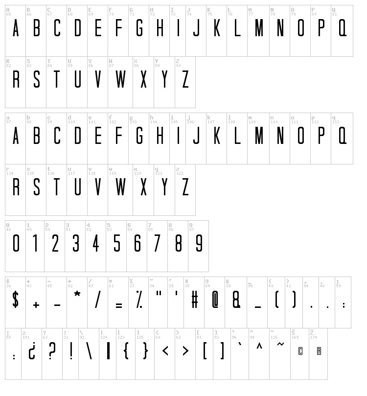 Tall Dark And Handsome font map