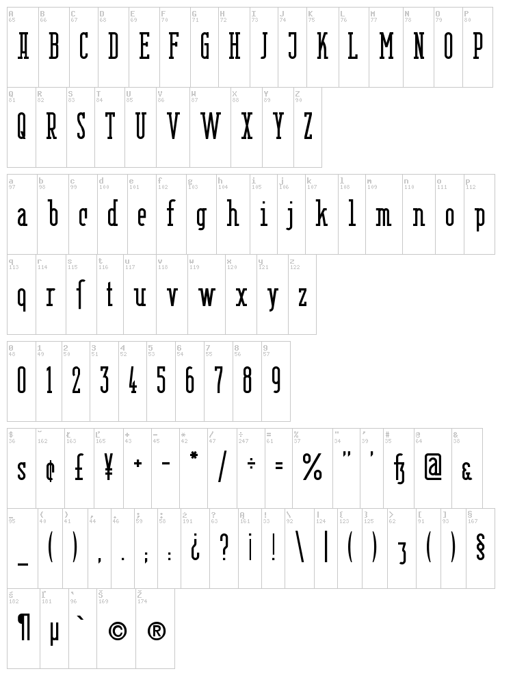 Berlin Email Serif font map