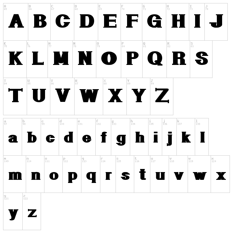 Geometric Serif PW font map