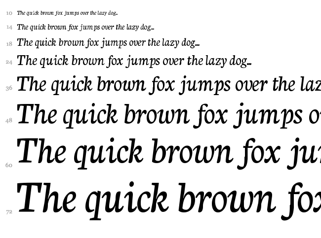 Neuton Cursive font waterfall