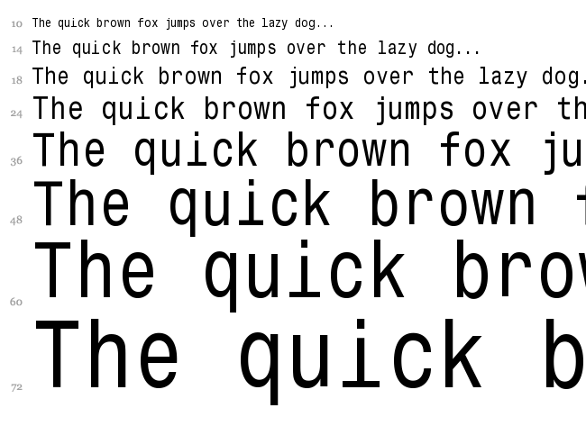 Monospace Typewriter font waterfall
