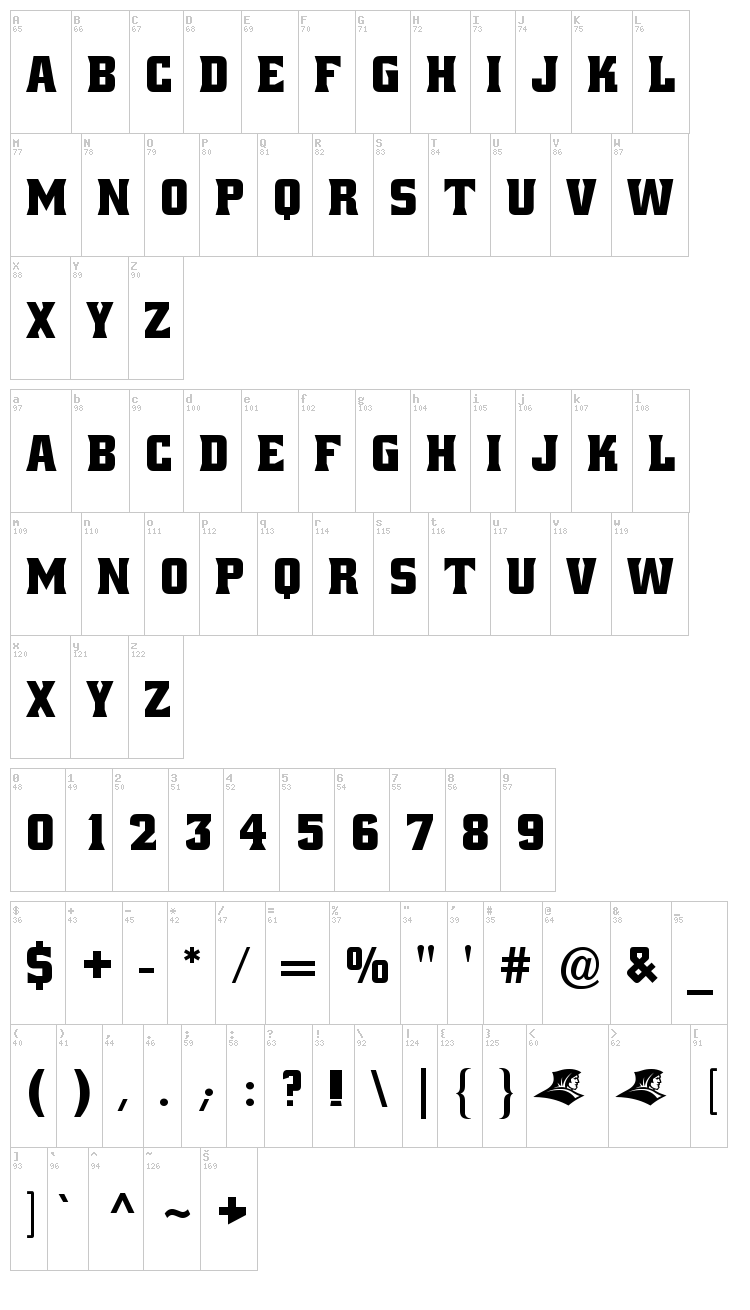 Alley Oop font map