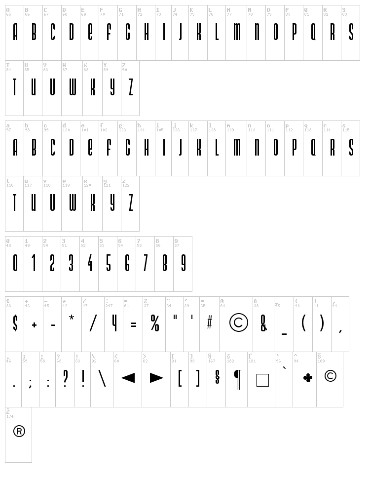 DS Narrow font map