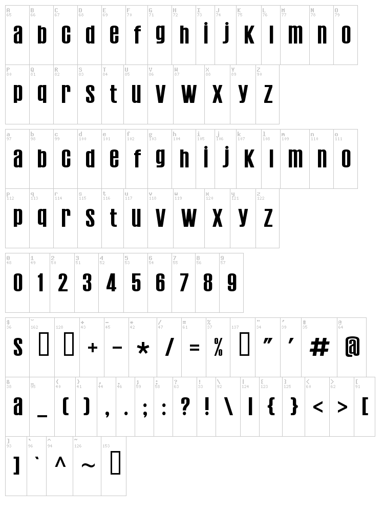 Establo font map