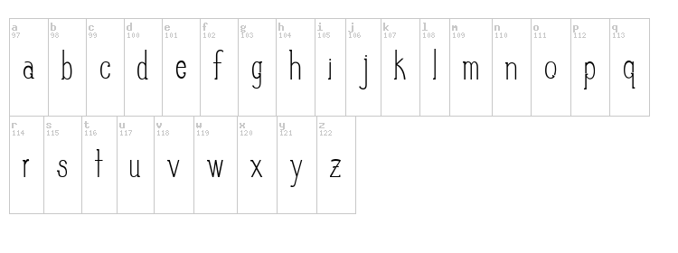 Slim Pickins font map
