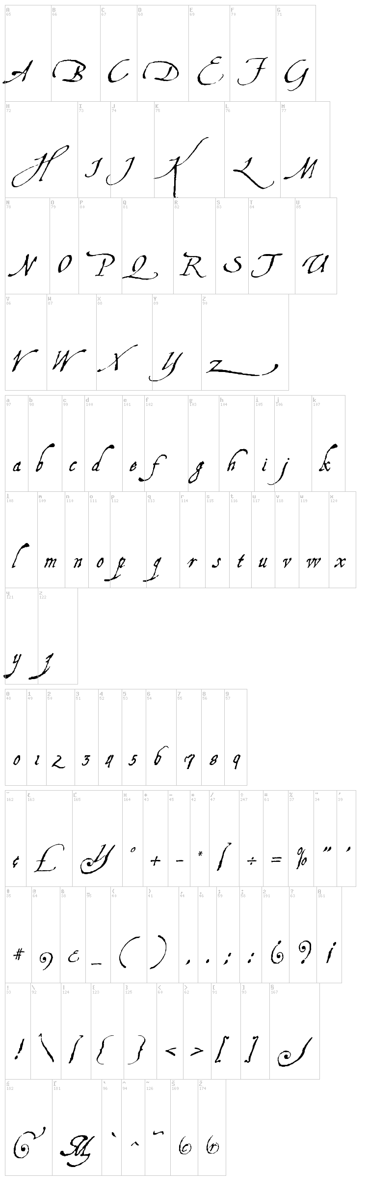 Aquiline Two font map