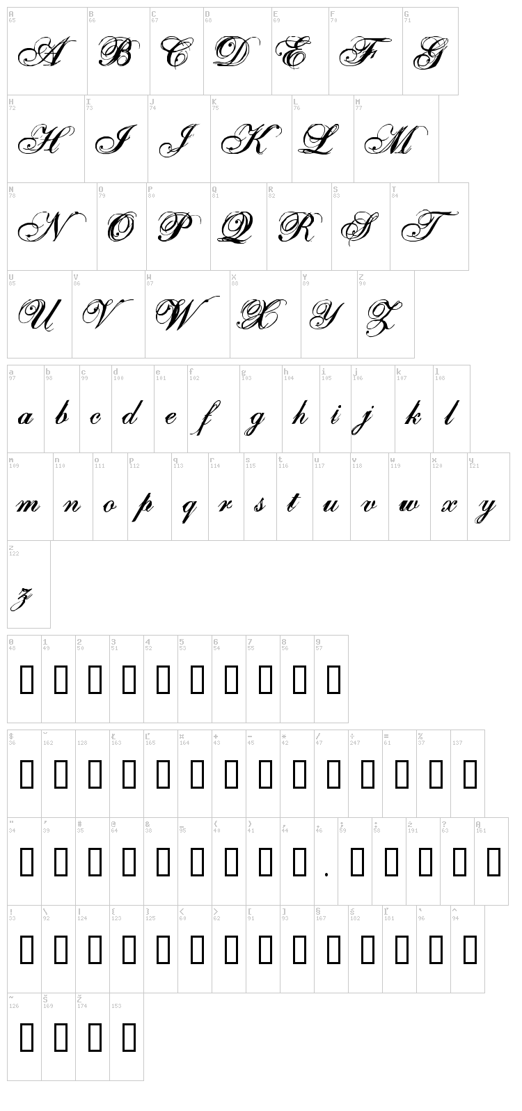 One Fell Swoop font map