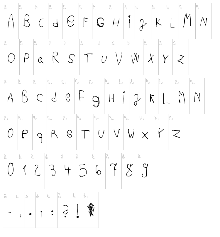 Acki Preschool font map