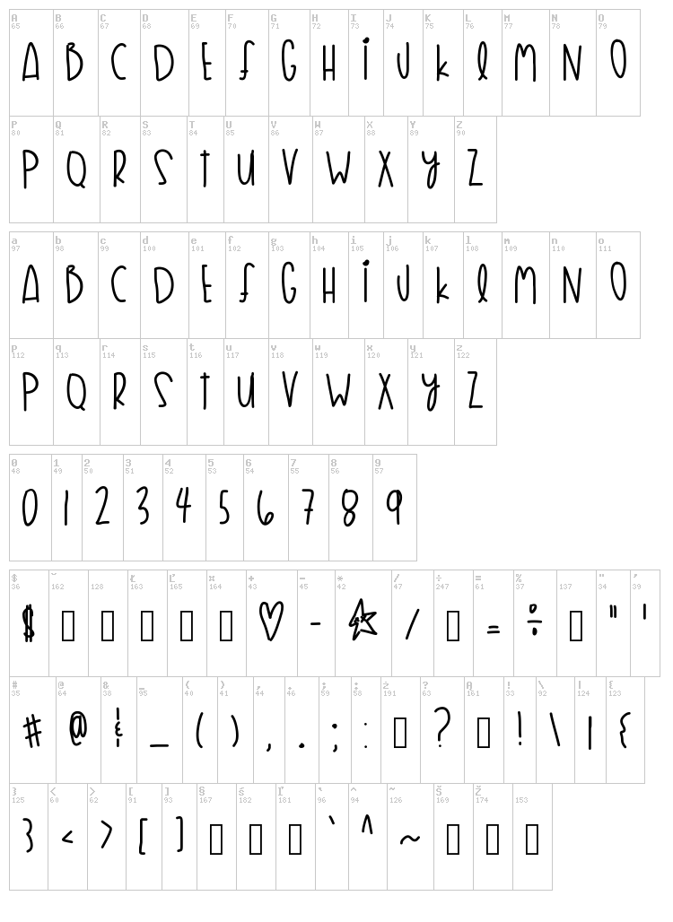 Flyknit Life font map