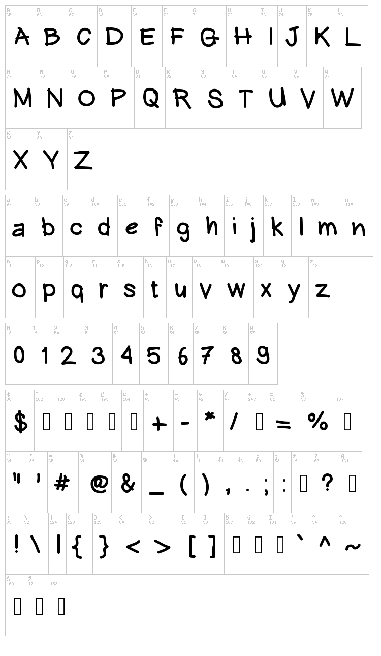 Hein Writing font map
