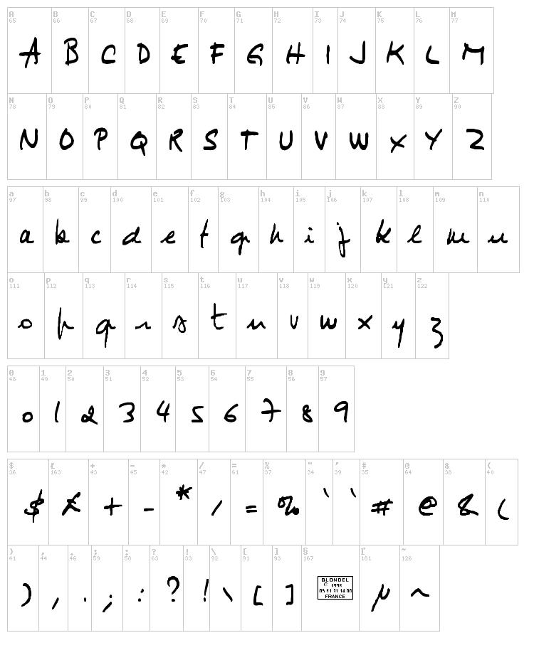 Jimmy 1 font map