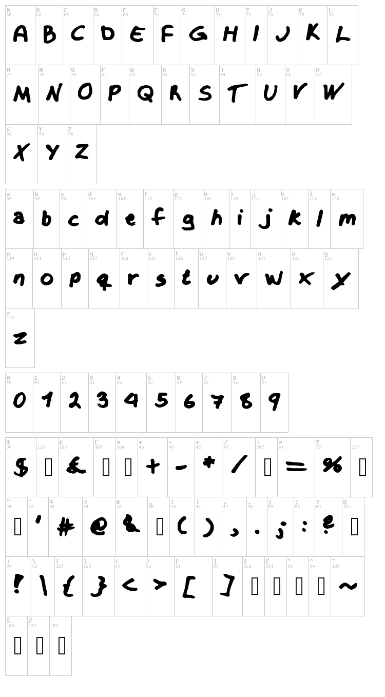 Krizzy font map