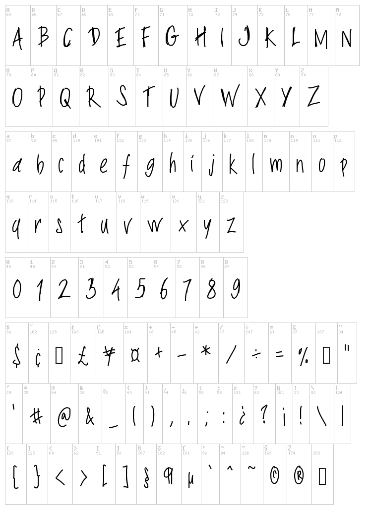 PW Slimy fonts font map
