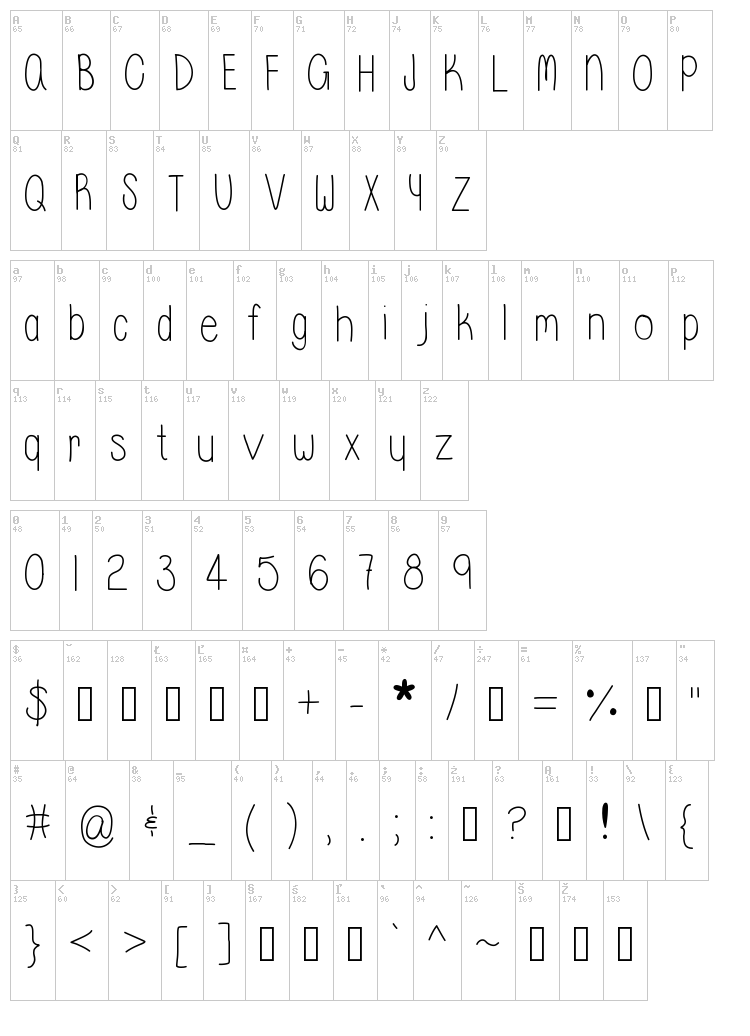 Whisper a Dream font map