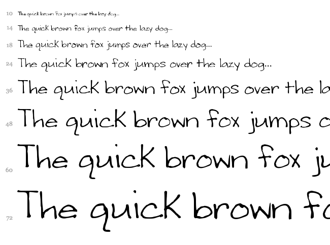 Writing Stuff font waterfall