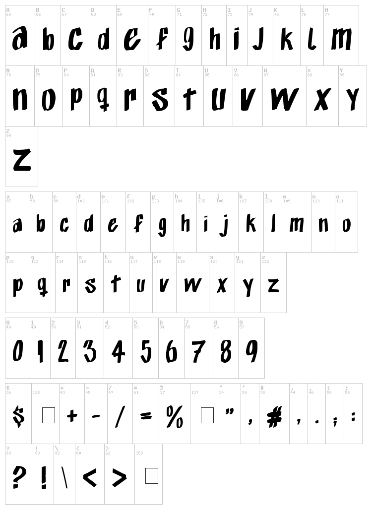 Exito Free Hand font map