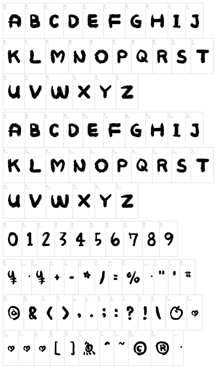 Mukokuseki Kitchen font map