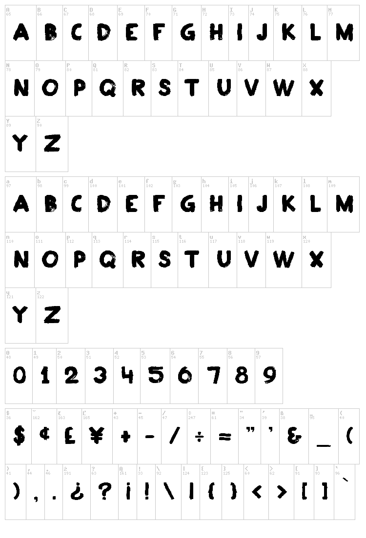 Plakkaat font map