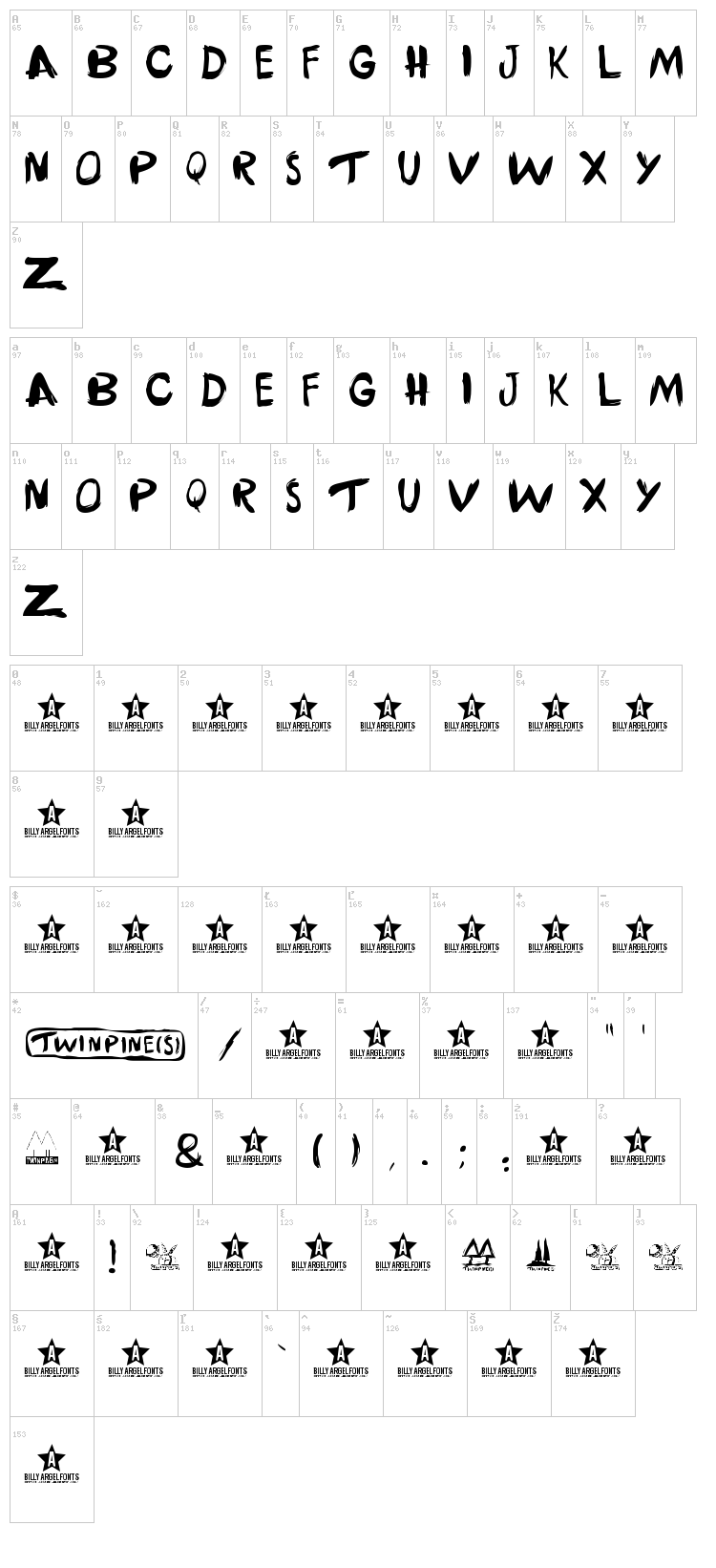 Twinpines font map