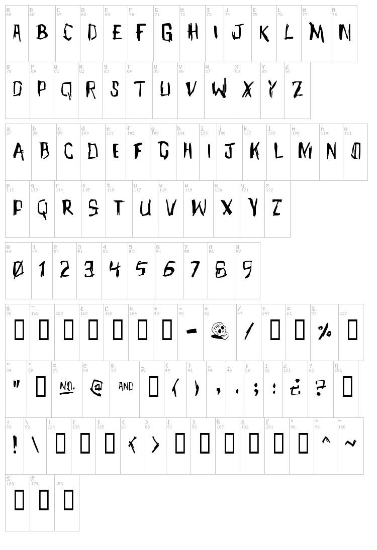 Meet John Henry font map