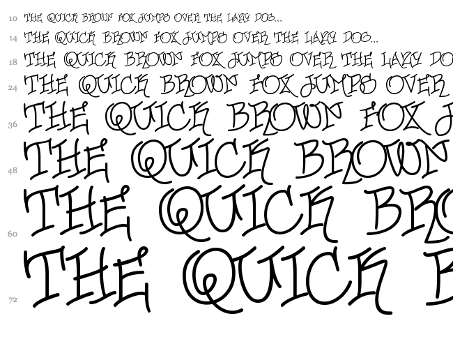 Urban Scrawl font waterfall