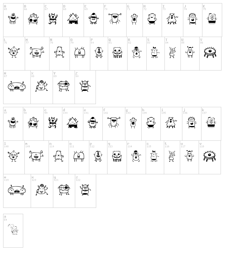 Alien Dude font map