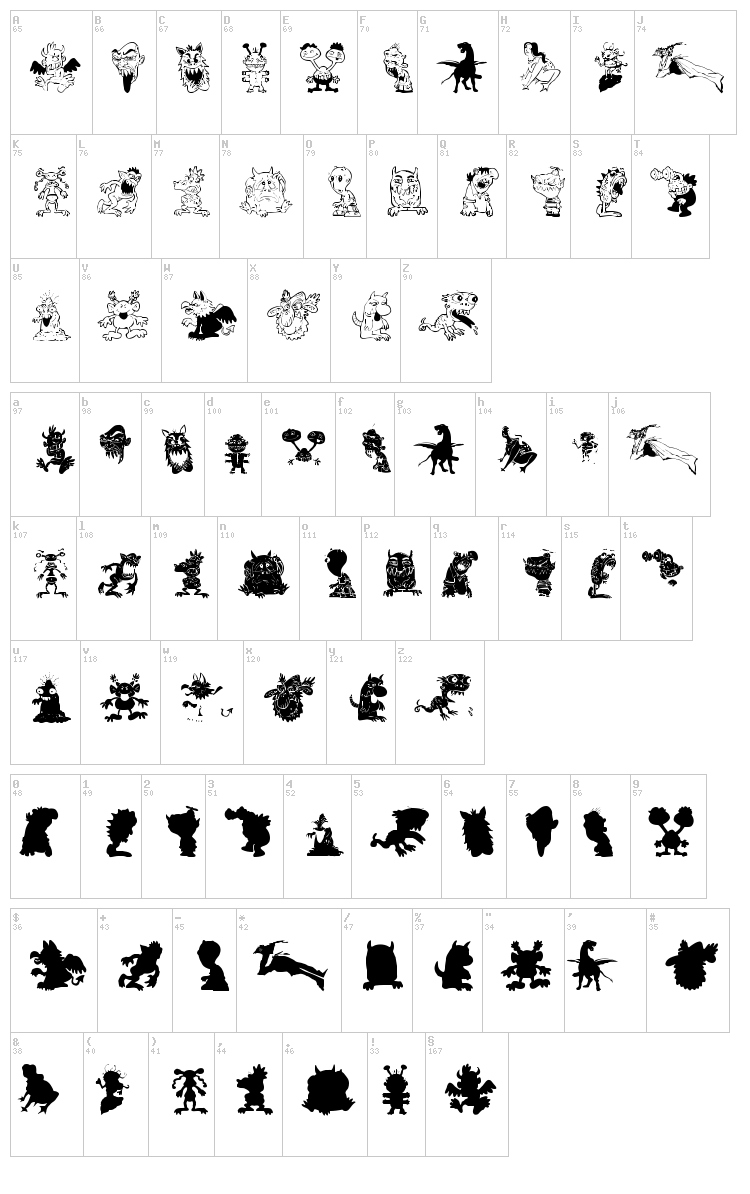 Art Monsters font map