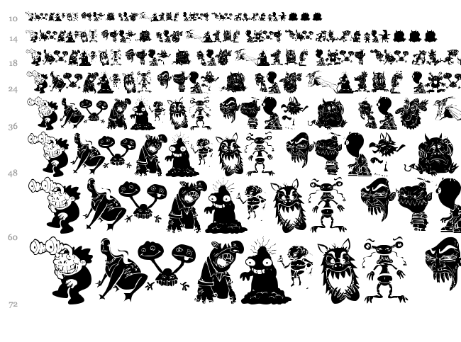 Art Monsters font waterfall