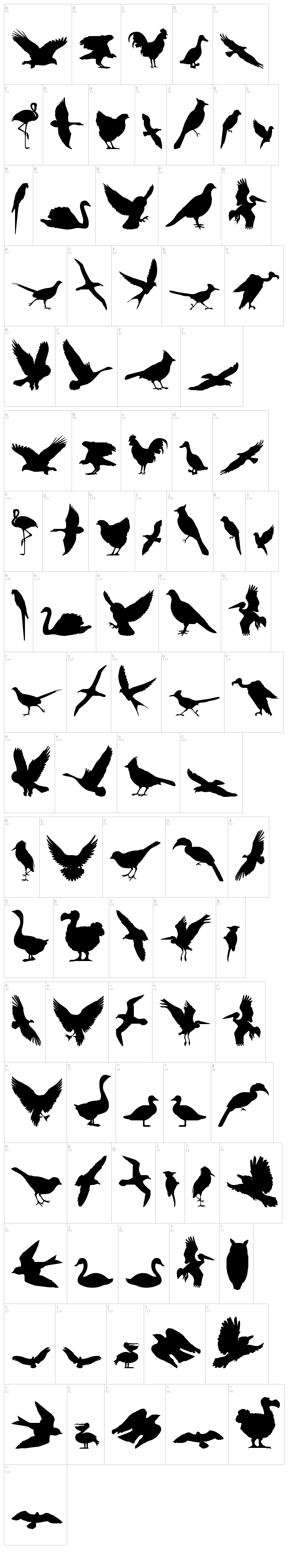 Birds of a Feather font map