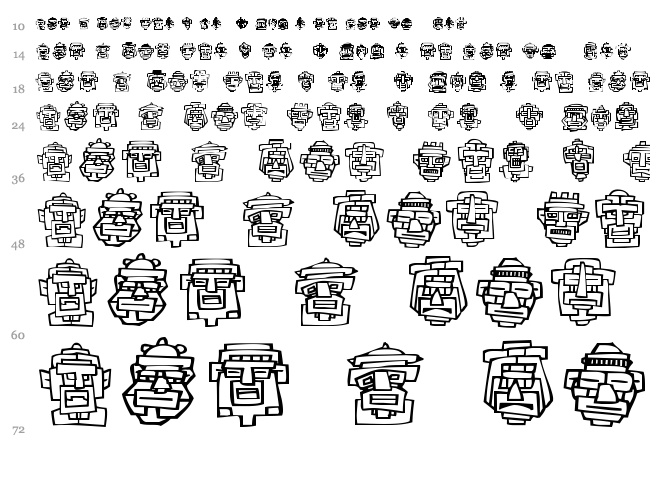 FE 20 Faces font waterfall