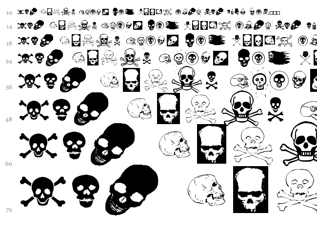 Skullz font waterfall