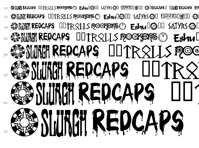 Changeling Dingbats font waterfall