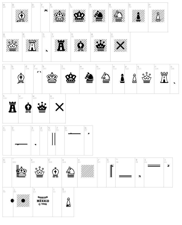 Chess Magnetic font map