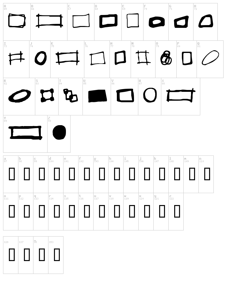 Some Boxes font map
