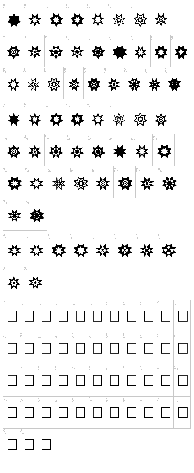 Star Things font map