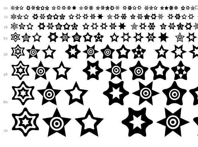 Star Things font waterfall