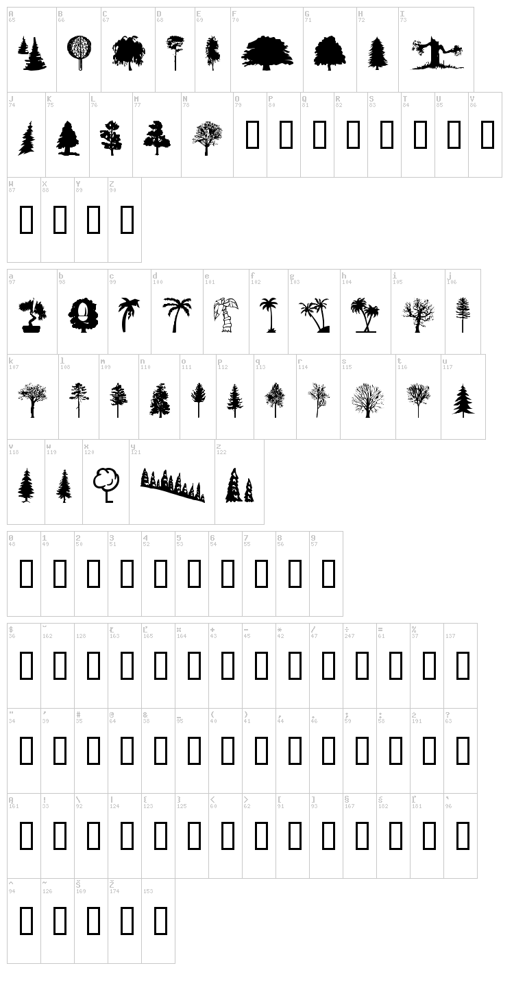 WM Trees 1 font map