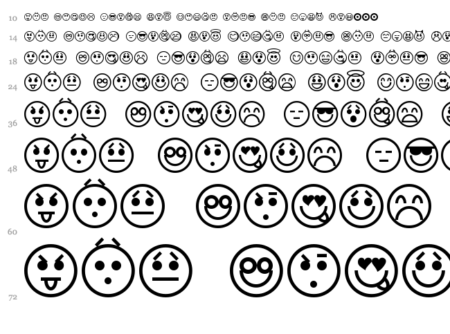 Emoticons font waterfall