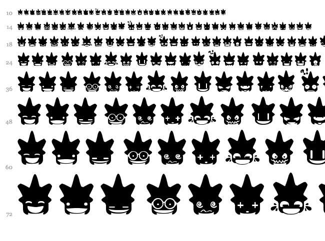 Ghost & Punk Smileys font waterfall