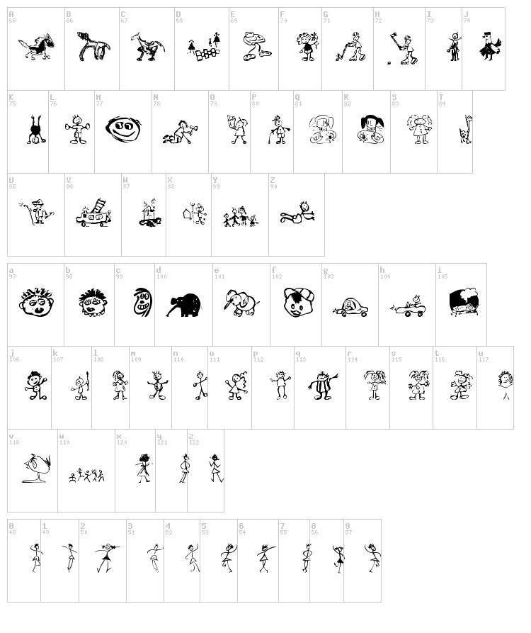 Kids Drawings font map