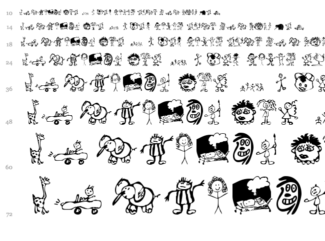 Kids Drawings font waterfall